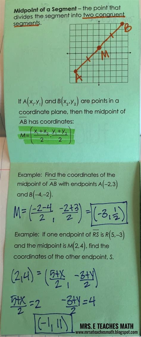 Midpoint and Distance Formulas Interactive Notebook Page