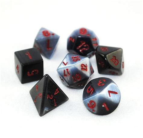 Synthetic Black Cat's Eye Stone 14mm Dice Set and Bag