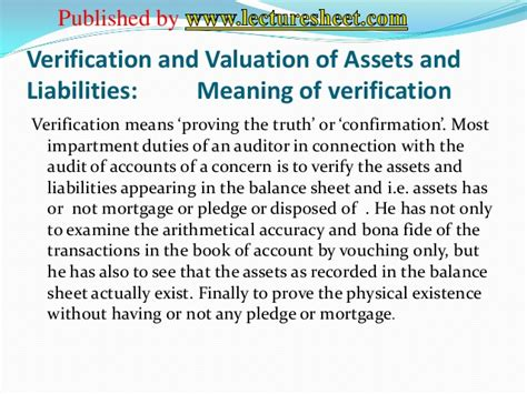 Verification and valuation