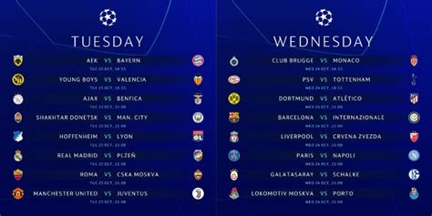 Champions League schedule for US TV and streaming: October